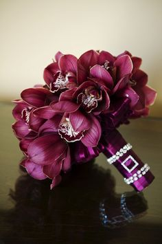 Purple Orchids:Rectangle Silver Diamond Indent Brooches
