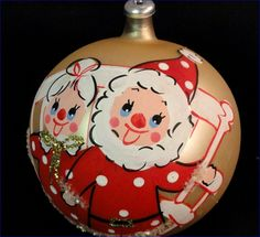 Rare Italy Hand Painted Mr. & Mrs. SANTA CLAUS Glass Ball Ornament Vintage Christmas Bulb