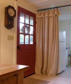 decor, curtains, back doors, window treatment, drop cloth curtain, drop cloths, treatment idea, dropcloth curtain, cloth drape