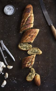 Garlic bread with salsa verde butter and Parmesan cheese