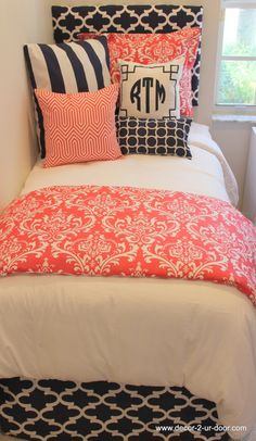D2D Designs: Coral and Navy Dorm Room // Teen // Apartment Bedding   Sorority and Dorm Room Bedding