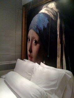 """Vermeer painting"" headboard at the Paramount Hotel in NYC"