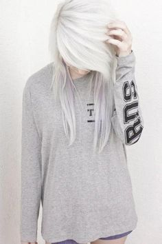 white blonde hair with lavender