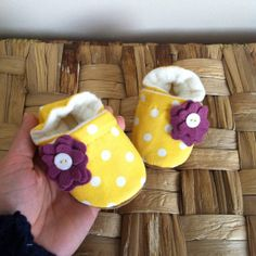 Baby Shoes Baby Booties Yellow Polka Dot by ParkerAndPosie