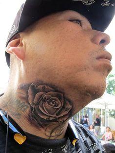 rose on neck tattoo, neck tattoos, rose tattoo neck
