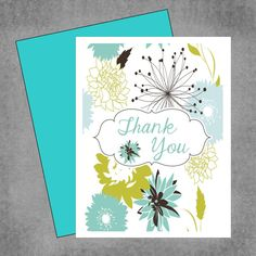 Set of 8 Personalized Note Cards  Teal Lime by PaperDollPrinting, $10.00