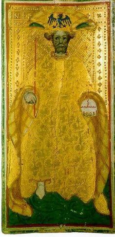 The Emperor from the Visconti C Tarot, aka Brera Brambilla Tarot, one of the earliest tarot decks, from Italy, 1450s