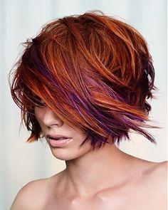 copper choppy hair with peaks of purple