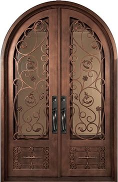 64x98 Blossom Iron Double Door. Beautiful wrought iron front entry door with grille from Door Clearance Center.