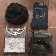 Pair this lace top with a textured scarf & these amazing combat boots…love! #fallfashion #ootd #styleinspiration