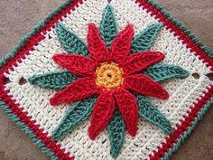 Granny Poinsettia granni poinsettia, december, afghans, crochet granny squares, poinsettia pattern, christmas, crochet granni, granni squar, potholders