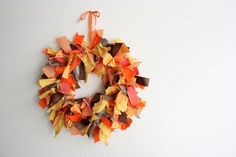 Easy fabric wreath done with wire hanger.