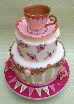 "Vintage Tea Party - by RockCakes @ CakesDecor.com - cake decorating website: This would be so much fun for a glamorous ""Sweet 16"" or bachelorette tea party."