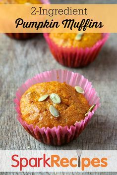 2-Ingredient Pumpkin Muffins. So easy and perfect for a #fall #breakfast! Hubs really likes these--it's the only way I can get him to eat breakfast lately!! | via @SparkPeople #muffins #easyrecipe