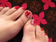 Red Flowers Toe Nails Art