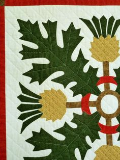 close up of thistle block, The Washingtonian quilt by Sue Garman - 2013