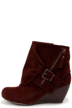 COMPLETELY OBSESSED with this design but not crazy about the color... Burgundy Boots - Ankle Boots - Wedge Boots