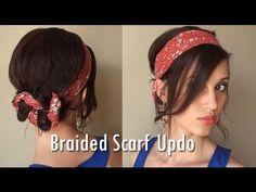 braid scarf, hair tutorials, headscarv, summer updo, braid hairstyles, scarves, creativ hairstyl, scarf updo, scarf summer