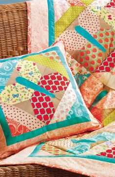 Check out the pattern for these colorful statement quilt and pillows. Get the free pattern here!