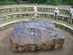 The Hoba meteorite is the largest known meteorite on Earth, it's also the single largest piece of naturally occurring iron weighing in at around 60 tons. In terms of actual size it measures 2.7 metres by 2.7 metres (8 feet 9 inches) by 0.9 metres (3 feet). It's believed to have touched down some 80,000 years ago in modern day Namibia and was only discovered in 1920 after the owner of the land ran over it with his plow. Chemically the meteorite is composed of about 84% iron and and 16% nickel.