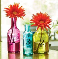 Stenciled Colored Bottle Vase Set
