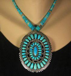 """Massive Old Pawn Vintage Navajo D K Lister Sterling Turquoise 4"""" Pendant   eBay"""