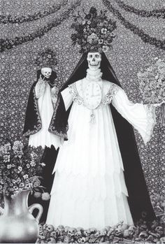 Detail from 'Madonna of the Sacred Bones,' drawing in charcoal, pencil and ink on paper by Laurie Lipton, 2005.