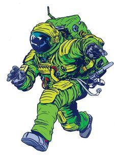 geek art, comic, green, astronaut, character design, foxes, illustr, nathanfox, nathan fox