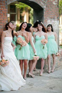 mint bridesmaid dresses + peach bouquets