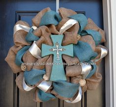 Easter Burlap and Turquoise Cross Wreath  Burlap -  need to make!