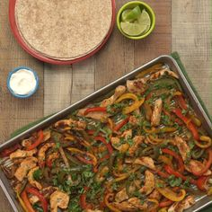 Looking for a quick and easy dinner or meal prep recipe? These sheet-pan fajitas are full of flavor and healthy ingredients like lean chicken breast, lots of veggies and whole-grain tortillas. Dinner is served in less than 15 minutes, perfect for busy weeknights.