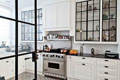 interior design, white kitchen, design homes, contemporary kitchens, black doors