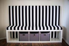 Striped DIY Banquette- Ikea Hack (expedit shelf)