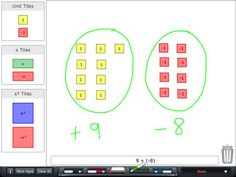 Algebra Tiles 99¢, pretty good app according to Math teachers.