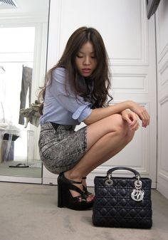 Ralph Lauren shirt x Zara denim skirt x Navy blue Lady Dior x Dior SS'10 Black leather wedges