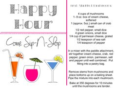 Happy Hour - Come Sip-N-Shop Have the hostess make her favorite cocktail (s) for her guests and a few fun appetizers...Happy Hour time! #ThirtyOneParty