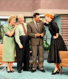 "The Fabulous Foursome - Colorized    Vivian Vance, William Frawley, Desi Arnaz, and Lucille Ball in a scene from ""I Love Lucy"