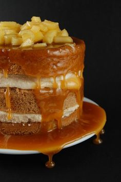 Spice Cake with Caramel Mousse and Caramel Apple Topping