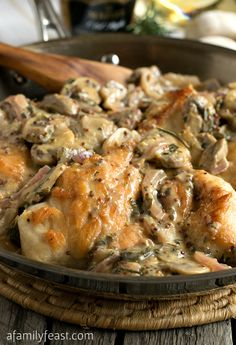 Chicken Breasts with Mushroom and Onion Dijon Sauce - Tender chicken smothered in a mushroom and onion Dijon mustard sauce! Elegant and easy to make!