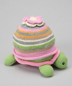 Take a look at this Pink Plush Turtle & Beanie Set by Baby Aspen on #zulily today!