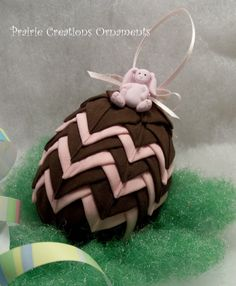 Quilted Ornament Easter Egg Chocolate Brown Pink Bunny