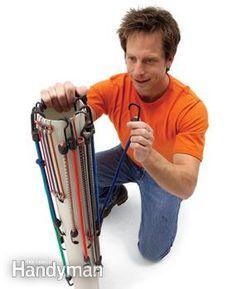 Stretch cords around PVC pipe