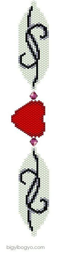 Beaded Heart bracelet pattern, peyote
