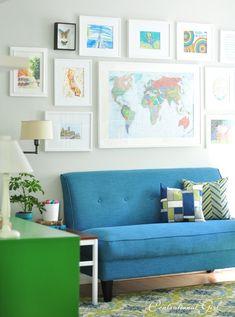 Art gallery wall + blue chair via Centsational Girl