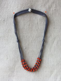 Grey orange necklace Crochet beaded by 100crochetnecklaces on Etsy