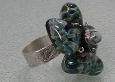 Sterling Silver Flower Ring Boro Bead by SilverSeahorseDesign, $65.00