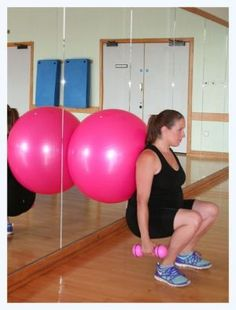 Squats with a fitball!  This workout is great for keeping legs and bum toned. Keep a chair near by in case you get stuck in your squat!!