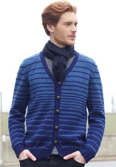 This stylish knit sweater is an essential piece for transitioning between seasons. Shown in Patons Canadiana.