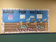 """My original bulletin board for the Box Tops class room contest.  Moving 30+ horses every week got old quick since the sticky tack had to be """"worked"""" to get sticky again every time.  Thus, I'm moving to a magnetic design."""