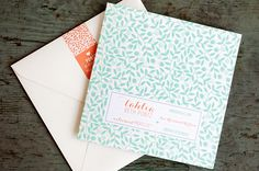 Oh So Beautiful Paper: Tahlia's Modern Mint + Coral Birth Announcements